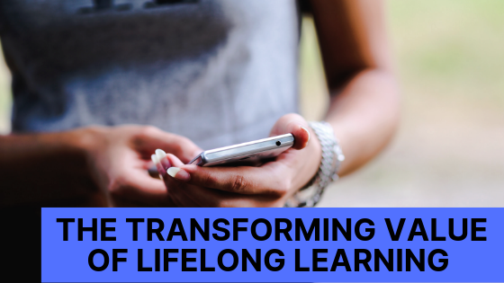 Converting from like to follow, transforming value of lifelong learning, girl holding cell phone