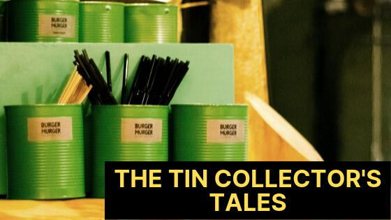 the tin collector, tin collections, the tin collector's tales, collections, green cans with pencils and paintbrushes
