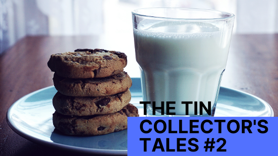 comfort food, the tin collector's tales #2, comfort food in war and peace, stack of 4 chocolate chip cookies on a plate, legacy of tins, stories about tins