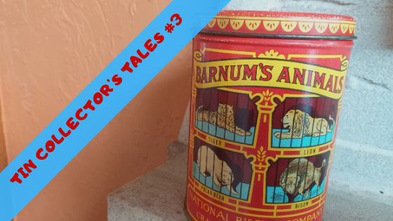 animal crackers, animal crackers in my soup, tin collector's tales #3, blue diagonal strip beside red tin of animal crackers on a white fireplace, why we love animal crackers, lessons from animal crackers