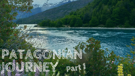 happy copy of Eden, Patagonian Journey part 1, travel in Chile, Lake General Carrera in southern Chile, Patagonia. river with mountains and lupins